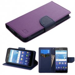 Kyocera Wave / Hydro Air Purple Pattern/Dark Blue Liner wallet with Card Slot