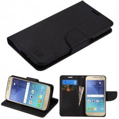 Samsung Galaxy J2 Black Pattern/Black Liner wallet with Card Slot