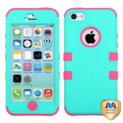 Apple iPhone 5c Rubberized Teal Green/Electric Pink Hybrid Case