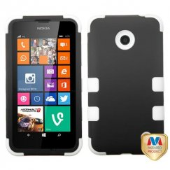 Nokia Lumia 635 Rubberized Black/Solid White Hybrid Case