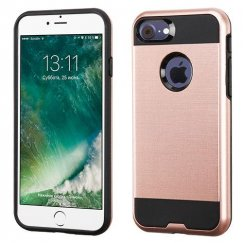 Apple iPhone 7 Rose Gold/Black Brushed Hybrid Case