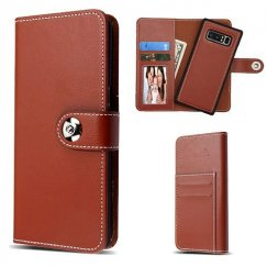 Samsung Galaxy Note 8 Brown Detachable Magnetic 2-in-1 Wallet (PC Case + Leather Folio)(PR233) -WP
