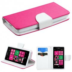 Nokia Lumia 521 Hot Pink Pattern/White Liner wallet with Card Slot