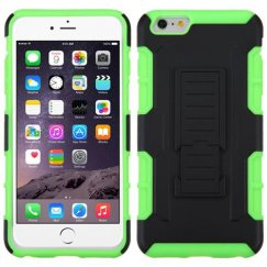 Apple iPhone 6 Plus Black/Electric Green Car Armor Stand Case - Rubberized
