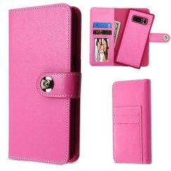 Samsung Galaxy Note 8 Hot Pink Detachable Magnetic 2-in-1 Wallet (PC Case + Leather Folio)(PR232) -WP