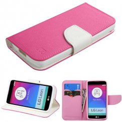 LG Leon H345 Hot Pink Pattern/White Liner wallet with Card Slot