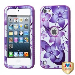 Apple iPod Touch (5th Generation) Purple Hibiscus Flower Romance/Electric Purple Hybrid Case