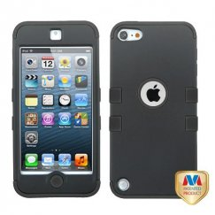 Apple iPod Touch (5th Generation) Rubberized Black/Black Hybrid Case