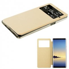Samsung Galaxy Note 8 Gold Silk Texture with Transparent Frosted Tray