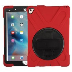 AppleiPad iPad Pro 9.7 2016 Black/Red Rotatable Stand Protector Cover (with Wristband)