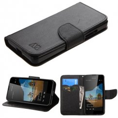 Nokia Lumia 550 Black Pattern/Black Liner wallet with Card Slot