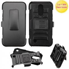 LG K10 Black/Black Advanced Armor Stand Case Combo with Black Holster