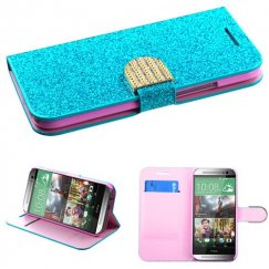 HTC One M8 Blue Glittering Wallet with Diamante Belt