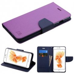 Apple iPhone 8 Plus Purple Pattern/Dark Blue Liner wallet with Card Slot