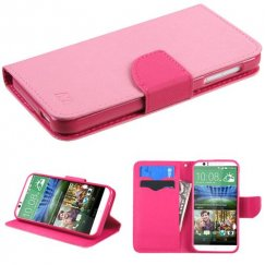 HTC Desire 510 Pink Pattern/Hot Pink Liner Wallet with Card Slot