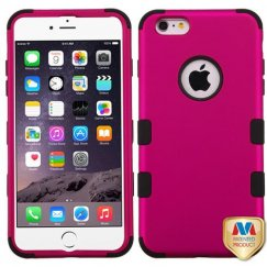 Apple iPhone 6s Plus Titanium Solid Hot Pink/Black Hybrid Case