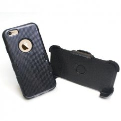 Apple iPhone 6s Carbon Fiber/Black Hybrid Case with Black Holster