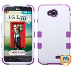 LG Optimus L70 Ivory White/Electric Purple Hybrid Case