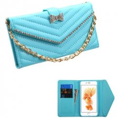Apple iPhone 8 Plus Baby Blue Premium Quilted Wallet with Bracelet