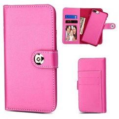 Apple iPhone 8 Plus Hot Pink Detachable Magnetic 2-in-1 Wallet Back Cover Leather Folio Flip