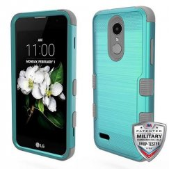 LG K8 Teal Green Brushed/Iron Gray Hybrid Phone Case Military Grade
