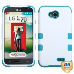 LG Optimus L70 Ivory White/Tropical Teal Hybrid Case