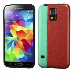Samsung Galaxy S5 Grass Green/Reddish Brown Embossed Leather Backing Candy Skin Cover