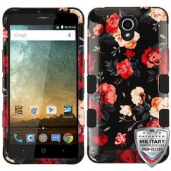 ZTE Prestige 2 Red and White Roses/Black Hybrid Phone Protector Cover [Military-Grade Certified]