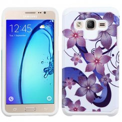Samsung Galaxy On5 Purple Hibiscus Flower Romance /White Advanced Armor Case