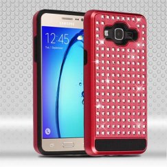 Samsung Galaxy On5 Red/Black Diamante FullStar Case