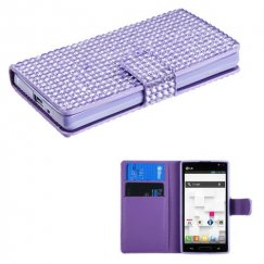 LG Optimus L9 Purple Diamonds Book-Style Wallet with Card Slot