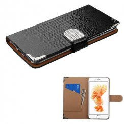 Apple iPhone 8 Plus Black Crocodile Skin Wallet with Metal Diamonds Buckle & Silver Plating Tray