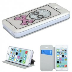 Apple iPhone 5c White Wallet with Colorful Beads Inside Skull