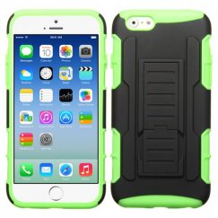 Apple iPhone 6s Black/Electric Green Car Armor Stand Case - Rubberized