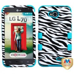 LG Optimus L70 Zebra Skin/Tropical Teal Hybrid Case