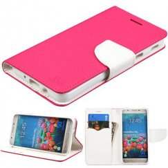 Samsung Galaxy J5 Prime Hot Pink Pattern/White Liner wallet with Card Slot