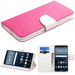 LG G Stylo Hot Pink Pattern/White Liner wallet with Card Slot
