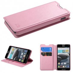 LG Optimus F6 Pink Wallet with Tray
