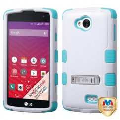 LG Tribute Natural Ivory White/Tropical Teal Hybrid Case with Stand