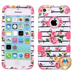 Apple iPhone 5c Pink Fresh Roses/Electric Pink Hybrid Case