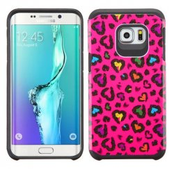 Samsung Galaxy S6 Edge Plus Colorful Glittering Leopard Skin Hot Pink/Black Advanced Armor Case