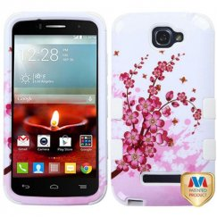 Alcatel One Touch Fierce 2 Spring Flowers/Solid White Hybrid Case