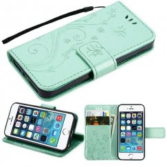 Apple iPhone 5s Teal Green 3D Butterfly Flower Wallet(IM023) -NP