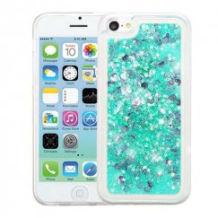 Apple iPhone 5c Hearts & Green Quicksand Glitter Hybrid Case