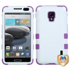 LG Optimus F6 Ivory White/Electric Purple Hybrid Case