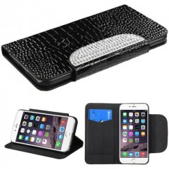 Apple iPhone 6 Plus Black Crocodile Skin/Diamante Belt Wallet