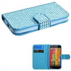 Motorola Moto G Light Blue Diamonds Book-Style Wallet with Card Slot