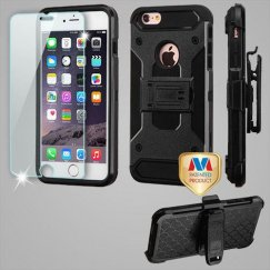 Apple iPhone 6 Plus Black/Black 3-in-1 Case Combo with Black Holster with Tempered Glass Screen Protector