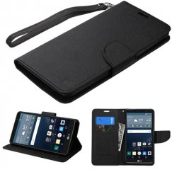 LG G Stylo Black Pattern/Black Liner wallet with Lanyard