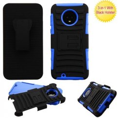Motorola Moto G6 Black/Dark Blue Advanced Armor Stand Protector Cover Combo (with Black Holster)